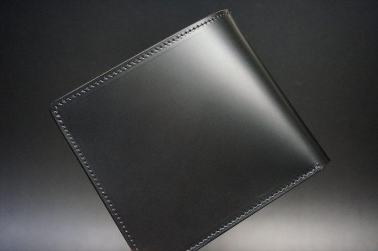 新喜皮革社製顔料仕上げコードバンのブラック色の二つ折り財布(ゴールド色)-1-1