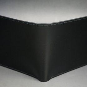 新喜皮革社製顔料仕上げコードバンのブラック色の二つ折り財布(ゴールド色)-1-2