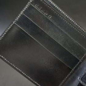 新喜皮革社製顔料仕上げコードバンのブラック色の二つ折り財布(ゴールド色)-1-6
