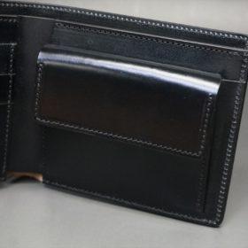 新喜皮革社製顔料仕上げコードバンのブラック色の二つ折り財布(ゴールド色)-1-7