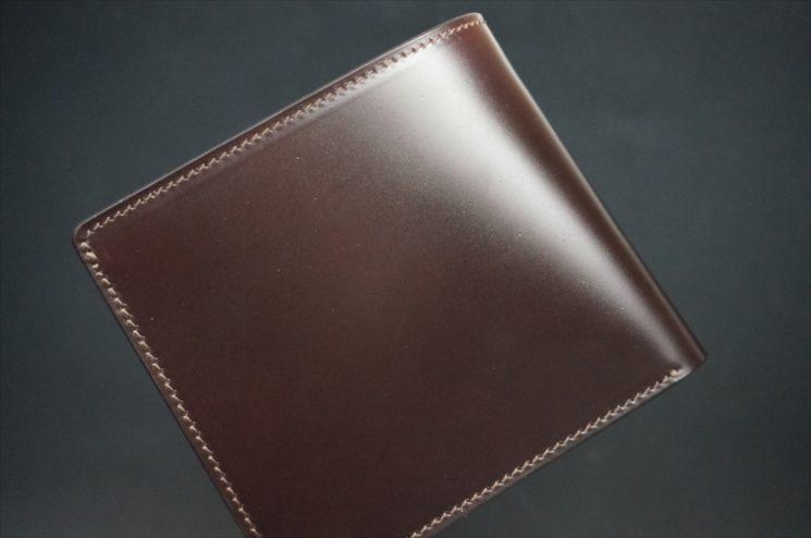 新喜皮革社製顔料仕上げコードバンのダークブラウン色の二つ折り財布(ゴールド色)-1-1