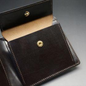 新喜皮革社製顔料仕上げコードバンのダークブラウン色の二つ折り財布(ゴールド色)-1-10
