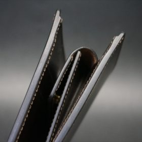 新喜皮革社製顔料仕上げコードバンのダークブラウン色の二つ折り財布(ゴールド色)-1-4