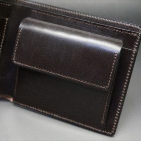 新喜皮革社製顔料仕上げコードバンのダークブラウン色の二つ折り財布(ゴールド色)-1-8