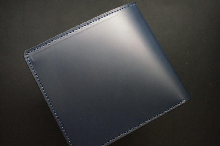 新喜皮革社製顔料仕上げコードバンのネイビー色の二つ折り財布-1-1