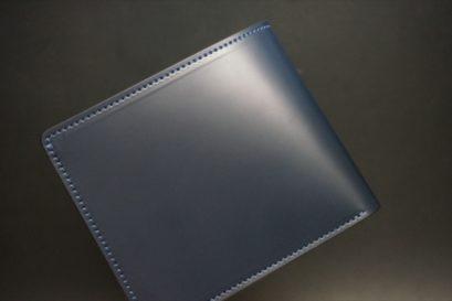 新喜皮革社製顔料仕上げコードバンのネイビー色の二つ折り財布(ゴールド色)-1-1