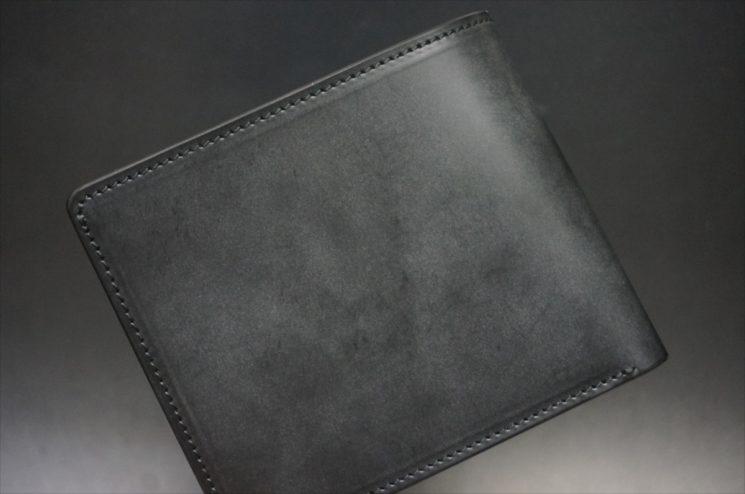 新喜皮革社製顔料仕上げ蝋引き加工コードバンのブラック色の二つ折り財布-1-1