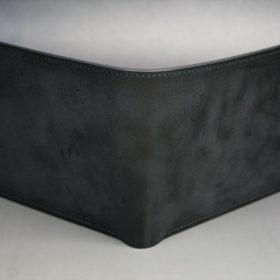 新喜皮革社製蝋引き顔料仕上げコードバンのブラック色の二つ折り財布(ゴールド色)-1-2