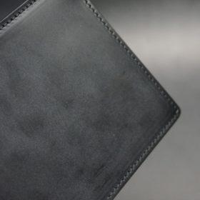 新喜皮革社製蝋引き顔料仕上げコードバンのブラック色の二つ折り財布(ゴールド色)-1-3