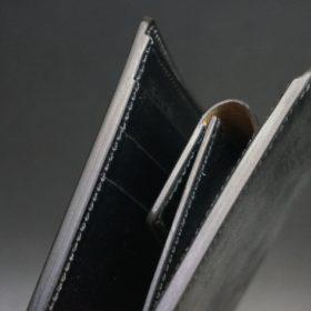 新喜皮革社製蝋引き顔料仕上げコードバンのブラック色の二つ折り財布(ゴールド色)-1-4