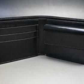 新喜皮革社製蝋引き顔料仕上げコードバンのブラック色の二つ折り財布(ゴールド色)-1-6