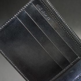 新喜皮革社製蝋引き顔料仕上げコードバンのブラック色の二つ折り財布(ゴールド色)-1-7