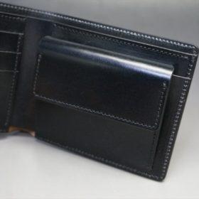 新喜皮革社製蝋引き顔料仕上げコードバンのブラック色の二つ折り財布(ゴールド色)-1-8