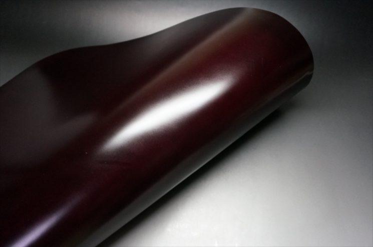 レーデルオガワ社製染料仕上げコードバンのバーガンディ-2