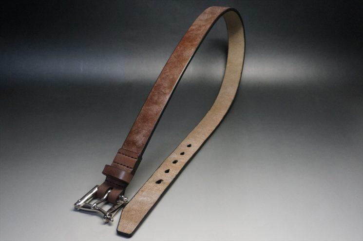J.ベイカー社製ブライドルレザーのダークブラウン色の32mmベルト(クイックリリースバックル/シルバー色/Sサイズ)-1-1