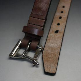 J.ベイカー社製ブライドルレザーのダークブラウン色の32mmベルト(クイックリリースバックル/シルバー色/Sサイズ)-1-2