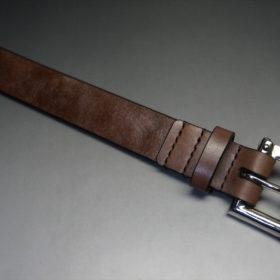 J.ベイカー社製ブライドルレザーのダークブラウン色の32mmベルト(クイックリリースバックル/シルバー色/Sサイズ)-1-4
