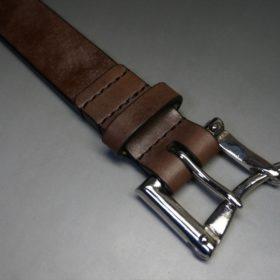 J.ベイカー社製ブライドルレザーのダークブラウン色の32mmベルト(クイックリリースバックル/シルバー色/Sサイズ)-1-5