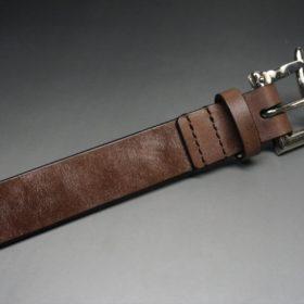 J.ベイカー社製ブライドルレザーのダークブラウン色の32mmベルト(クイックリリースバックル/シルバー色/Sサイズ)-1-6