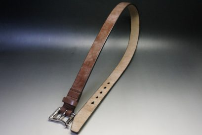 J.ベイカー社製ブライドルレザーのダークブラウン色の32mmベルト(クイックリリースバックル/シルバー色/Mサイズ)-1-1