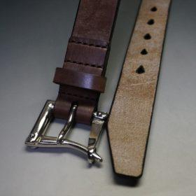 J.ベイカー社製ブライドルレザーのダークブラウン色の32mmベルト(クイックリリースバックル/シルバー色/Mサイズ)-1-2