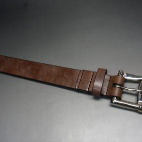 J.ベイカー社製ブライドルレザーのダークブラウン色の32mmベルト(クイックリリースバックル/シルバー色/Mサイズ)-1-4