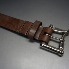 J.ベイカー社製ブライドルレザーのダークブラウン色の32mmベルト(クイックリリースバックル/シルバー色/Mサイズ)-1-5