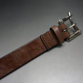 J.ベイカー社製ブライドルレザーのダークブラウン色の32mmベルト(クイックリリースバックル/シルバー色/Mサイズ)-1-6