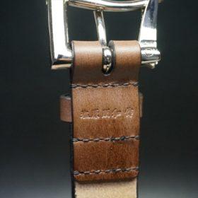 J.ベイカー社製ブライドルレザーのダークブラウン色の32mmベルト(クイックリリースバックル/シルバー色/Mサイズ)-1-8