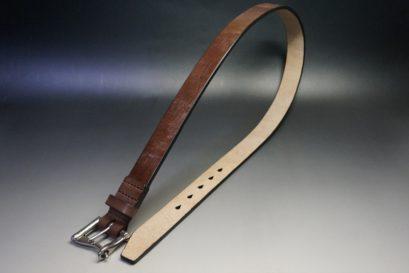 J.ベイカー社製ブライドルレザーのダークブラウン色の32mmベルト(クイックリリースバックル/シルバー色/Lサイズ)-1-1