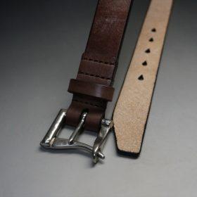 J.ベイカー社製ブライドルレザーのダークブラウン色の32mmベルト(クイックリリースバックル/シルバー色/Lサイズ)-1-2