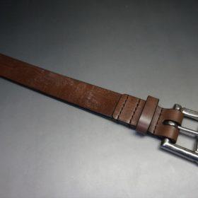 J.ベイカー社製ブライドルレザーのダークブラウン色の32mmベルト(クイックリリースバックル/シルバー色/Lサイズ)-1-4