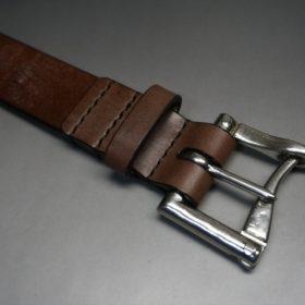 J.ベイカー社製ブライドルレザーのダークブラウン色の32mmベルト(クイックリリースバックル/シルバー色/Lサイズ)-1-5