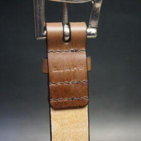 J.ベイカー社製ブライドルレザーのダークブラウン色の32mmベルト(クイックリリースバックル/シルバー色/Lサイズ)-1-8