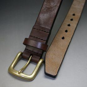 J.ベイカー社製ブライドルレザーのダークブラウン色の35mmベルト(ビジネス&カジュアルバックル/ゴールド色/LL)-1-2