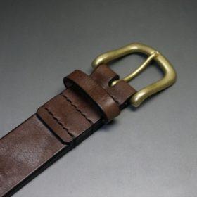 J.ベイカー社製ブライドルレザーのダークブラウン色の35mmベルト(ビジネス&カジュアルバックル/ゴールド色/LL)-1-5
