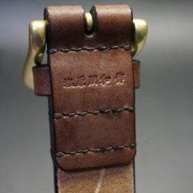 J.ベイカー社製ブライドルレザーのダークブラウン色の35mmベルト(ビジネス&カジュアルバックル/ゴールド色/LL)-1-7