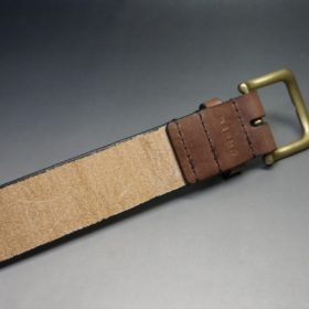 J.ベイカー社製ブライドルレザーのダークブラウン色の40mmベルト(ビジネス&カジュアルバックル/ゴールド色/S)-1-7