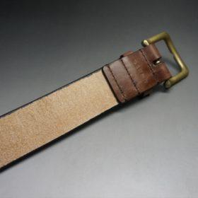 J.ベイカー社製ブライドルレザーのダークブラウン色の40mmベルト(ビジネス&カジュアルバックル/ゴールド色/M)-1-7