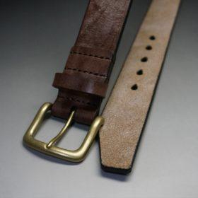 J.ベイカー社製ブライドルレザーのダークブラウン色の40mmベルト(ビジネス&カジュアルバックル/ゴールド色/L)-1-2
