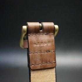 J.ベイカー社製ブライドルレザーのダークブラウン色の40mmベルト(ビジネス&カジュアルバックル/ゴールド色/L)-1-8