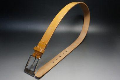 セドウィック社製ブライドルレザーのベンズ部位ロンドンタン色の35mmベルト(ビジネスバックル/シルバー色/L)-1-1