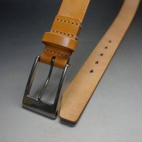 セドウィック社製ブライドルレザーのベンズ部位ロンドンタン色の35mmベルト(ビジネスバックル/シルバー色/L)-1-2