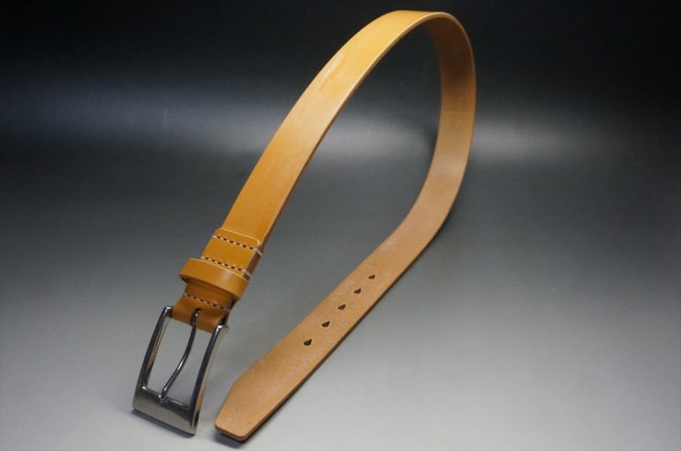 セドウィック社製ブライドルレザーのベンズ部位ロンドンタン色の35mmベルト(ビジネスバックル/シルバー色/S)-1-1