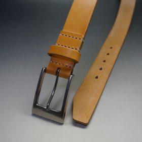 セドウィック社製ブライドルレザーのベンズ部位ロンドンタン色の35mmベルト(ビジネスバックル/シルバー色/S)-1-2
