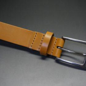 セドウィック社製ブライドルレザーのベンズ部位ロンドンタン色の35mmベルト(ビジネスバックル/シルバー色/S)-1-4