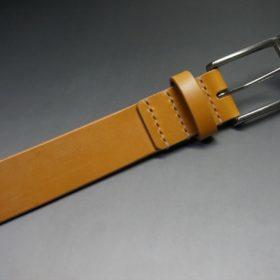 セドウィック社製ブライドルレザーのベンズ部位ロンドンタン色の35mmベルト(ビジネスバックル/シルバー色/S)-1-5