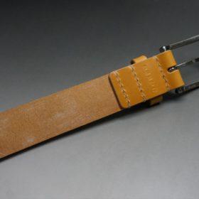 セドウィック社製ブライドルレザーのベンズ部位ロンドンタン色の35mmベルト(ビジネスバックル/シルバー色/S)-1-6
