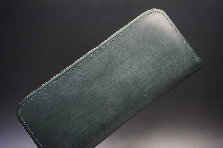 セドウィック社製ブライドルレザーのダークグリーン色のラウンドファスナー長財布(ゴールド色)-1-1