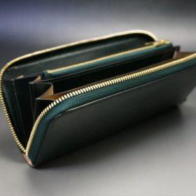 セドウィック社製ブライドルレザーのダークグリーン色のラウンドファスナー長財布(ゴールド色)-1-10